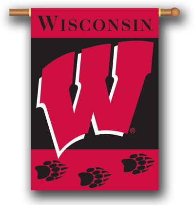 "NCAA Officially licensed products Wisconsin Badgers 2-Sided 28"" X 40"" Banner W/ Pole Sleeve Support your favorite team by ha"