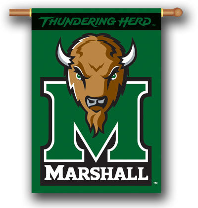 "NCAA Officially licensed products Marshall Thundering Herd 2-Sided 28"" X 40"" Banner W/ Pole Sleeve Support your favorite tea"