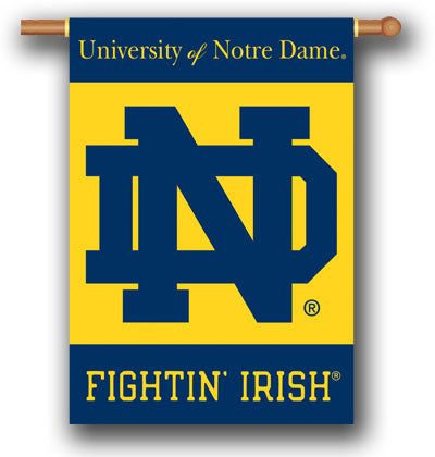 "NCAA Officially licensed products Notre Dame 2-Sided 28"" X 40"" Banner W/ Pole Sleeve Support your favorite team by hanging u"
