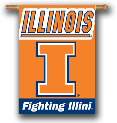 "NCAA Officially licensed products Illinois Fighting Illini 2-Sided 28"" X 40"" Banner W/ Pole Sleeve Support your favorite tea"