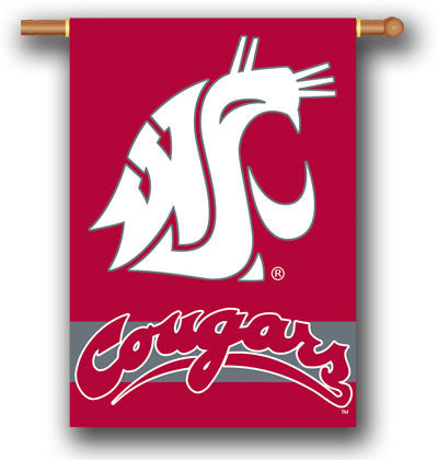 "NCAA Officially licensed products Washington State Cougars 2-Sided 28"" X 40"" Banner W/ Pole Sleeve Support your favorite tea"