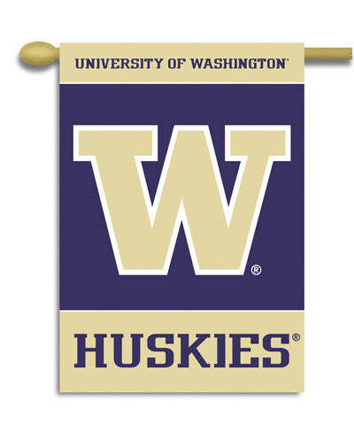 "NCAA Officially licensed products Washington Huskies 2-Sided 28"" X 40"" Banner W/ Pole Sleeve Support your favorite team by h"