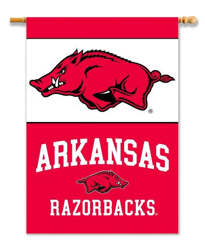 "NCAA Officially licensed products Arkansas Razorbacks 2-Sided 28"" X 40"" Banner W/ Pole Sleeve Support your favorite team by"