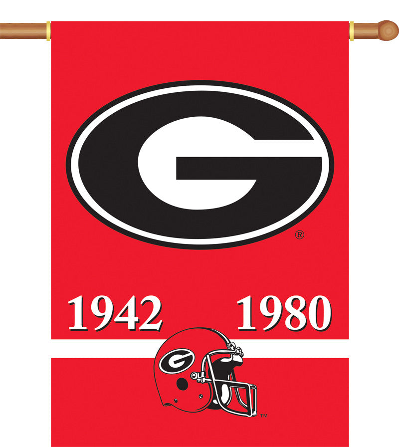 "NCAA Officially licensed products Georgia Bulldogs 2-Sided 28"" X 40"" Banner W/ Pole Sleeve Champ Years Support your favorite"