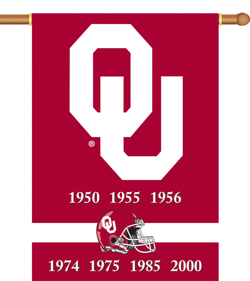 "NCAA Officially licensed products Oklahoma Sooners 2-Sided 28"" X 40"" Banner W/ Pole Sleeve Champ Years Support your favorite"