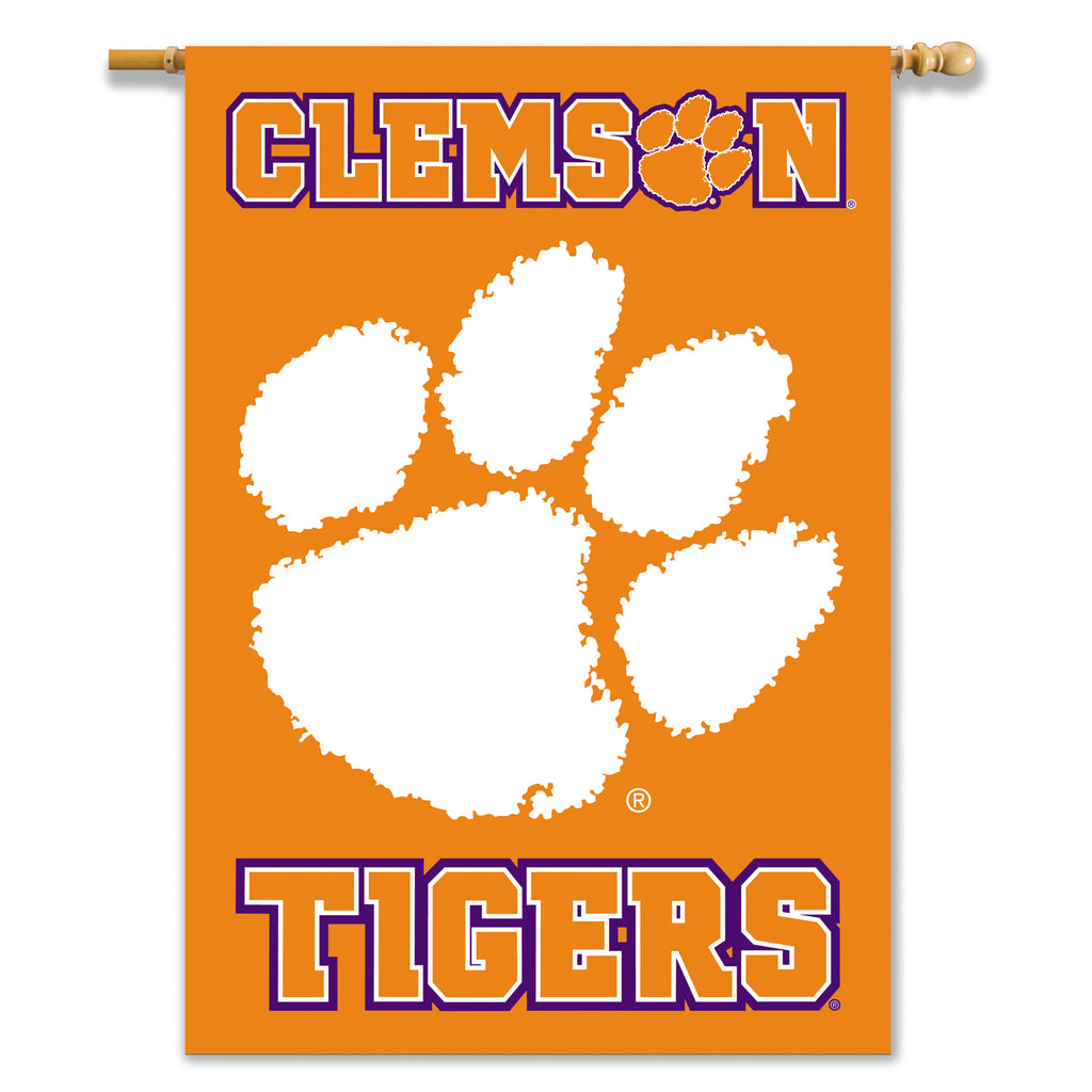 "NCAA Officially licensed products Clemson Tigers 2-Sided 28"" X 40"" Banner W/ Pole Sleeve Support your favorite team by hangi"
