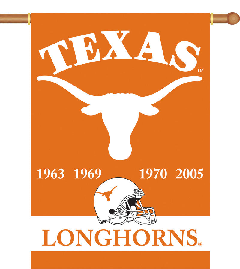 "NCAA Officially licensed products Texas Longhorns 2-Sided 28"" X 40"" Banner W/ Pole Sleeve Champ Years Support your favorite"