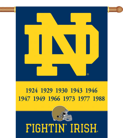 "NCAA Officially licensed products Notre Dame 2-Sided 28"" X 40"" Banner W/ Pole Sleeve Champ Years Support your favorite team"