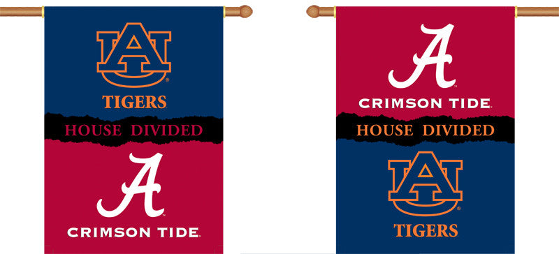 "NCAA Officially licensed products Alabama - Auburn 2-Sided 28"" X 40"" Banner W/ Pole Sleeve House Divided Support your favori"