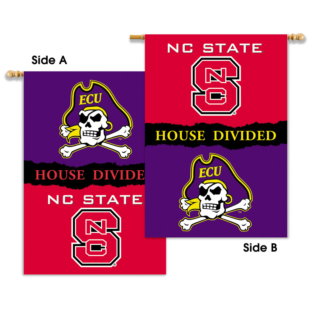 "NCAA Officially licensed products Nc State - E. Carolina 2-Sided 28"" X 40"" Banner W/ Pole Sleeve House Divided Support your"