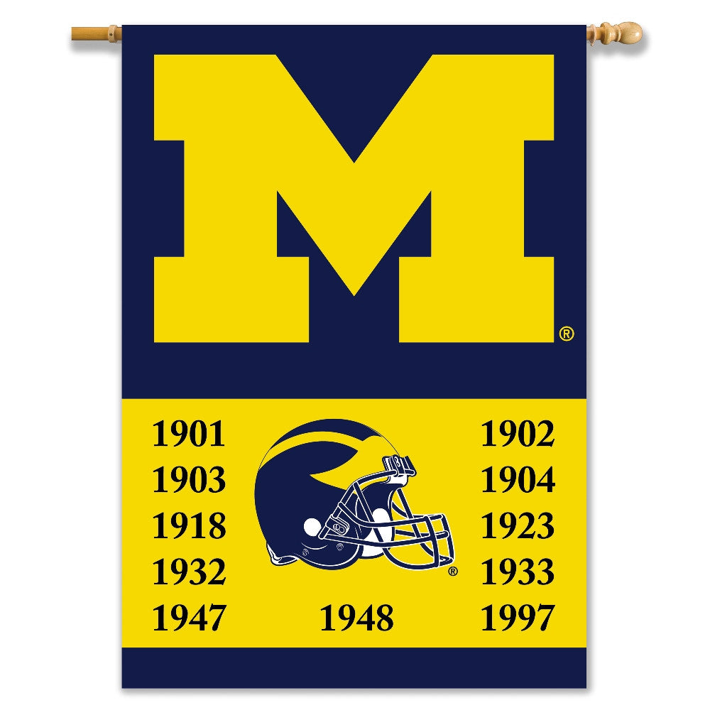 "NCAA Officially licensed products Michigan Wolverines 2-Sided 28"" X 40"" Banner W/ Pole Sleeve Champ Years Support your favor"