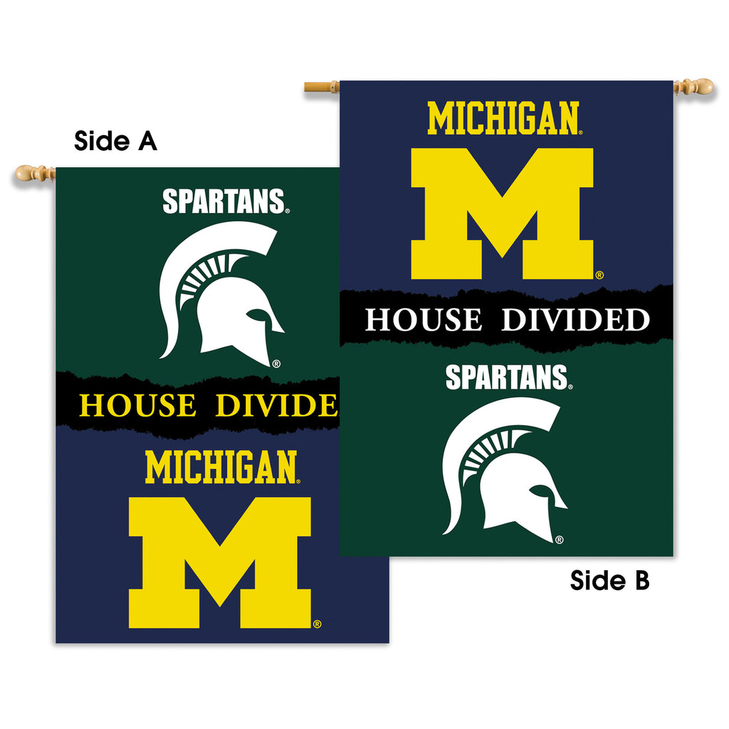"NCAA Officially licensed products Michigan - Michigan St. 2-Sided 28"" X 40"" Banner W/ Pole Sleeve House Divided Support your"