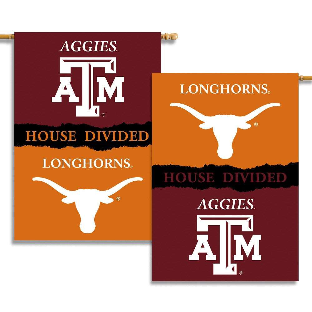 "NCAA Officially licensed products Texas - Texas A & M 2-Sided 28"" X 40"" Banner W/ Pole Sleeve House Divided Commemorate the"