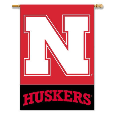 "NCAA Officially licensed products Nebraska Cornhuskers 2-Sided 28"" X 40"" Banner W/ Pole Sleeve Commemorate the championship"
