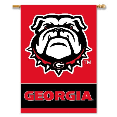 "NCAA Officially licensed products Georgia Bulldogs 2-Sided 28"" X 40"" Banner W/ Pole Sleeve Commemorate the championship year"