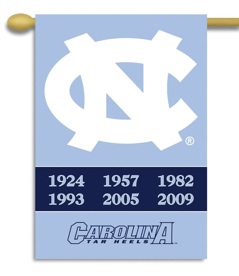 "NCAA Officially licensed products North Carolina Tar Heels 2-Sided 28"" X 40"" Banner W/ Pole Sleeve Champ Years Commemorate t"
