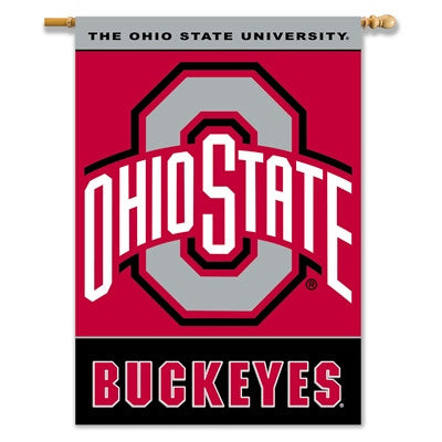 "NCAA Officially licensed products Ohio State Buckeyes 2-Sided 28"" X 40"" Banner W/ Pole Sleeve Commemorate the championship y"