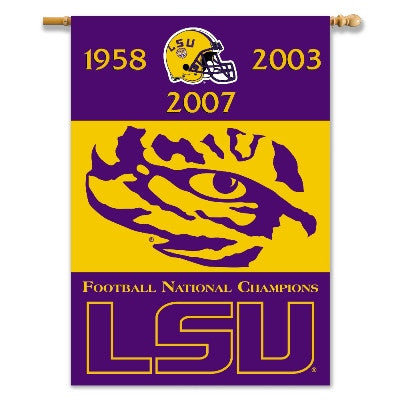 "NCAA Officially licensed products LSU Tigers 2-Sided 28"" X 40"" Banner W/ Pole Sleeve Champ Years Show everyone that your hou"