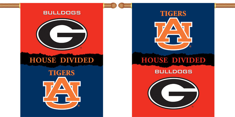 "NCAA Officially licensed products Georgia - Auburn 2-Sided 28"" X 40"" Banner W/ Pole Sleeve House Divided Commemorate the cha"