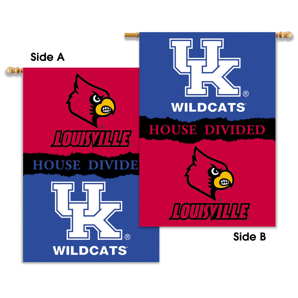 "NCAA Officially licensed products Kentucky - Louisville 2-Sided 28"" X 40"" Banner W/ Pole Sleeve House Divided Commemorate th"