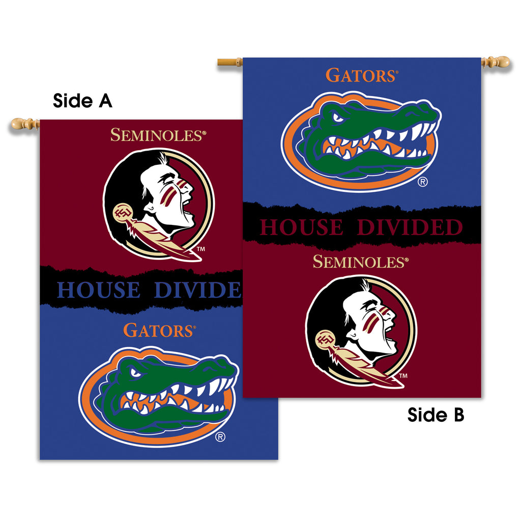 "NCAA Officially licensed products Florida - Florida St. 2-Sided 28"" X 40"" Banner W/ Pole Sleeve House Divided Show everyone"