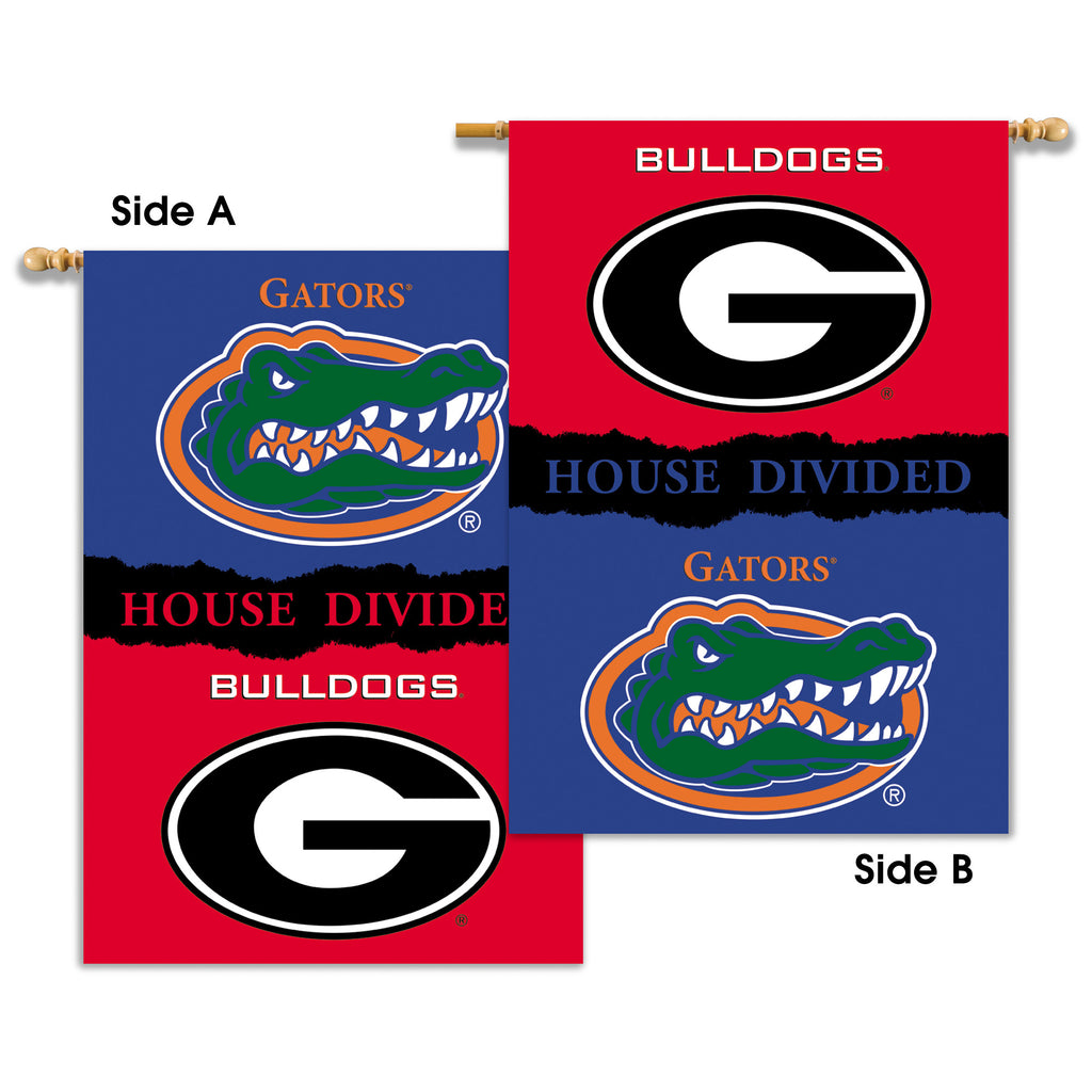 "NCAA Officially licensed products Georgia - Florida 2-Sided 28"" X 40"" Banner W/ Pole Sleeve House Divided Show everyone that"