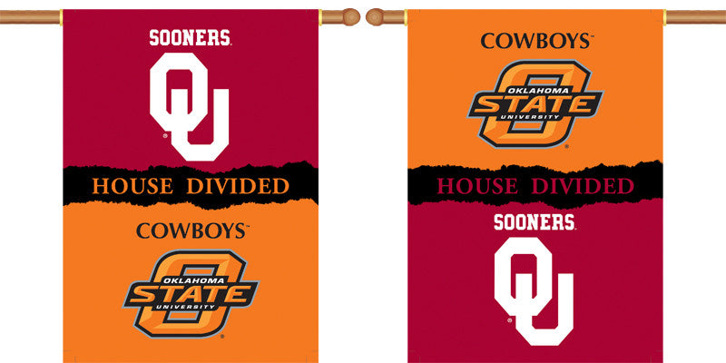 "NCAA Officially licensed products Oklahoma - Ok St. 2-Sided 28"" X 40"" Banner W/ Pole Sleeve House Divided Show everyone that"