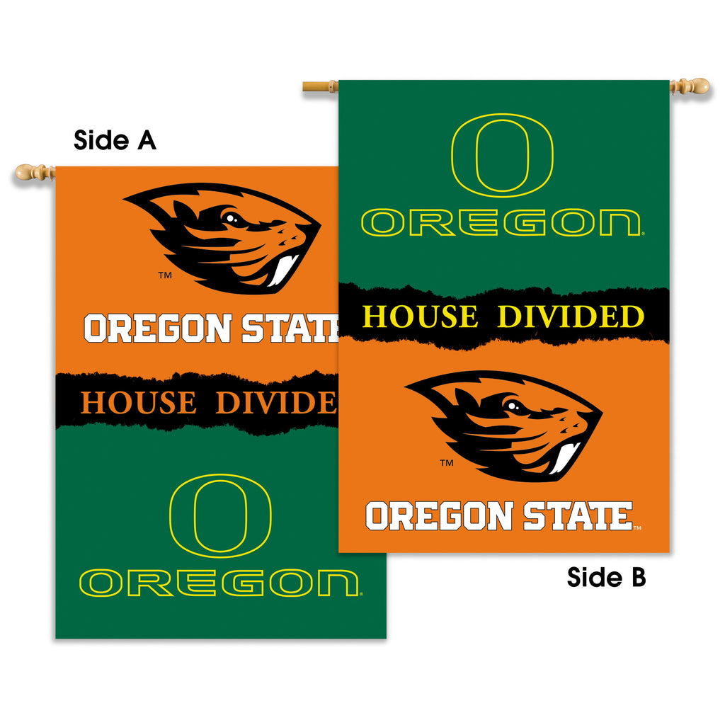 "NCAA Officially licensed products Oregon - Oregon State 2-Sided 28"" X 40"" Banner W/ Pole Sleeve House Divided Show everyone"