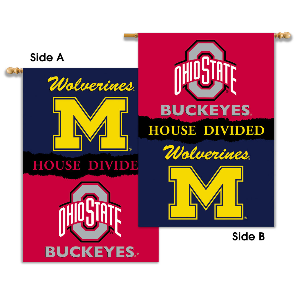 "NCAA Officially licensed products Michigan - Ohio St. 2-Sided 28"" X 40"" Banner W/ Pole Sleeve House Divided Show everyone th"