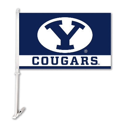 NCAA Officially licensed products Brigham Young Cougars Car Flag W/Wall Brackett  Show your team spirit proudly with this  c