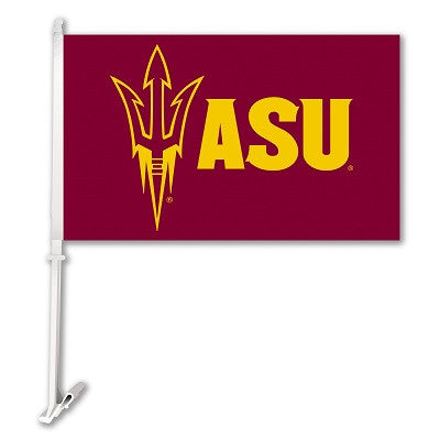 NCAA Officially licensed products Arizona State Sun Devils Car Flag W/Wall Brackett  Show your team spirit proudly with this