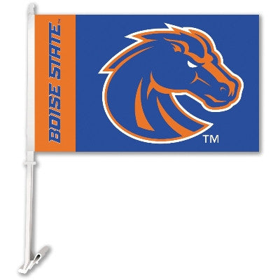 NCAA Officially licensed products Boise State Broncos Car Flag W/Wall Brackett  Show your team spirit proudly with this  car