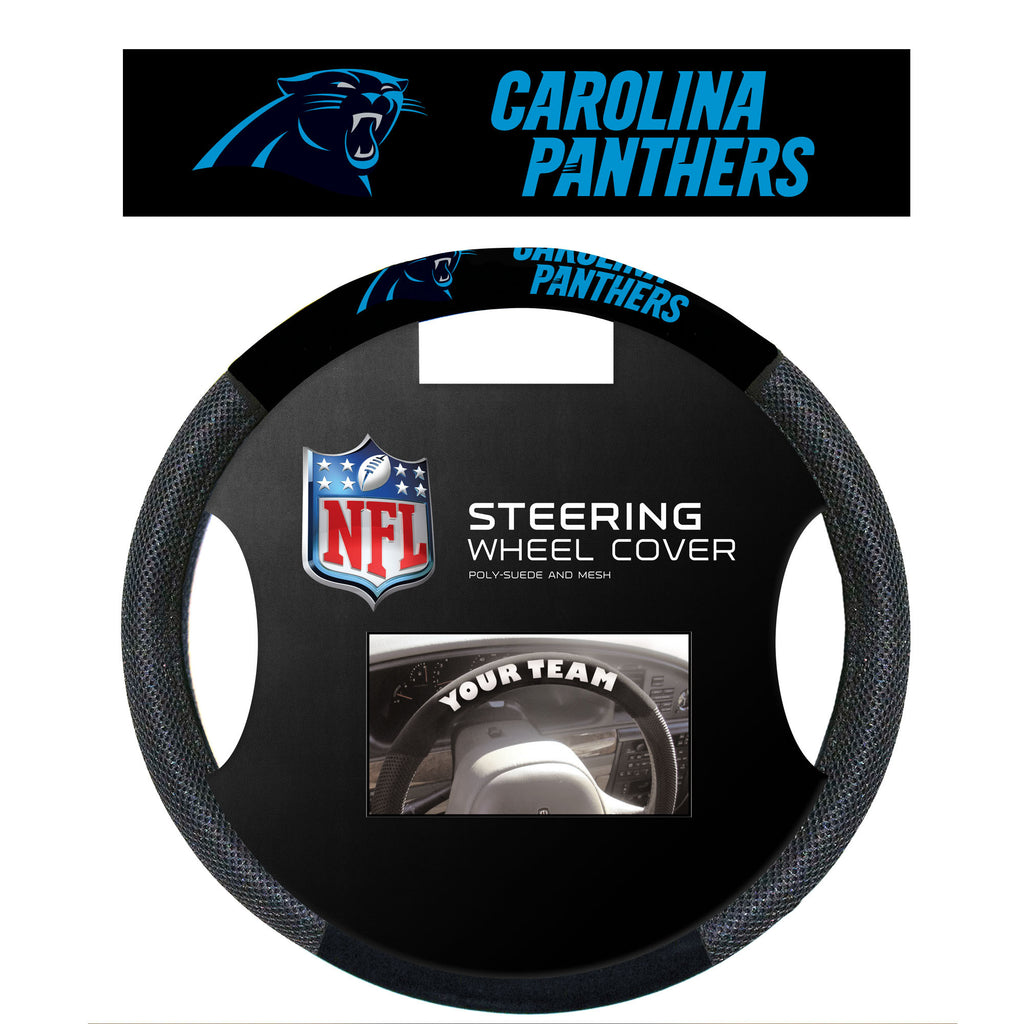 NFL Officially licensed products Carolina Panthers Poly-Suede Steering Wheel Cover Poly-suede material for comfortable grip.