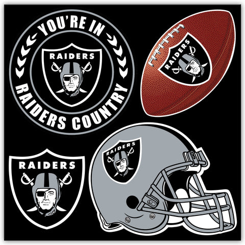 NFL Officially licensed products Oakland Raiders 4 Piece Magnet Set Show your team spirit proudly with this 4 piece Vinyl Ma