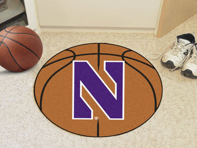 "NCAA Officially licensed Northwestern University Basketball Mat 27"" diameter Protect your floor in style and show off your f"