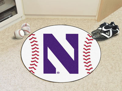 "NCAA Officially licensed Northwestern University Baseball Mat 27"" diameter Protect your floor in style and show off your fan"