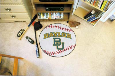 "NCAA Officially licensed Baylor University Baseball Mat 27"" diameter Protect your floor in style and show off your fandom wi"