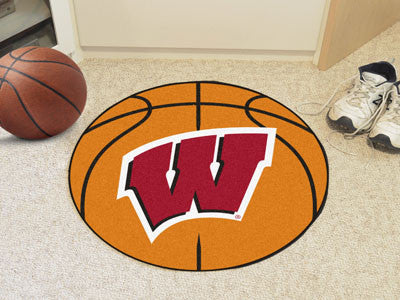 "NCAA Officially licensed University of Wisconsin Basketball Mat 27"" diameter Protect your floor in style and show off your f"