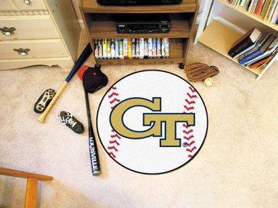 "NCAA Officially licensed Georgia Tech Baseball Mat 27"" diameter Protect your floor in style and show off your fandom with Ba"