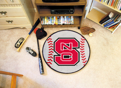 "NCAA Officially licensed North Carolina State University Baseball Mat 27"" diameter Protect your floor in style and show off"