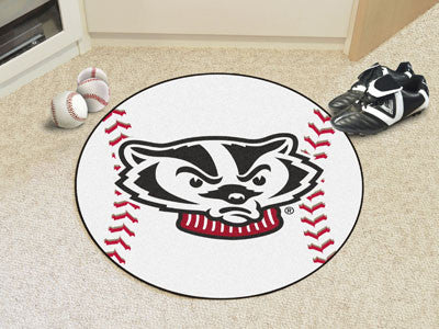 "NCAA Officially licensed University of Wisconsin Baseball Mat 27"" diameter Protect your floor in style and show off your fan"