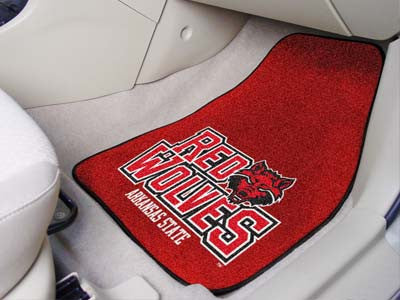 "NCAA Officially licensed Arkansas State University 2-pc Carpet Car Mat Set 17""x27"" Show your fandom even while driving with"