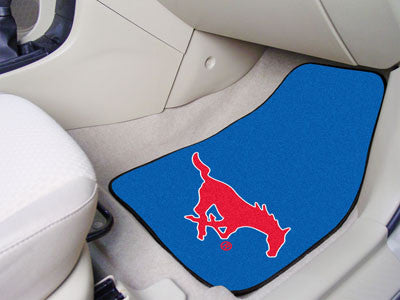 "NCAA Officially licensed Southern Methodist University 2-pc Carpet Car Mat Set 17""x27"" Show your fandom even while driving w"