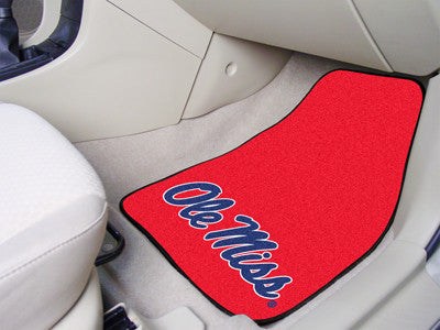 "NCAA Officially licensed University of Mississippi (Ole Miss) 2-pc Carpet Car Mat Set 17""x27"" Show your fandom even while dr"