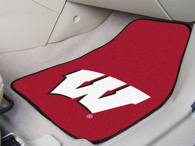 "NCAA Officially licensed University of Wisconsin 2-pc Carpet Car Mat Set 17""x27"" Show your fandom even while driving with Ca"