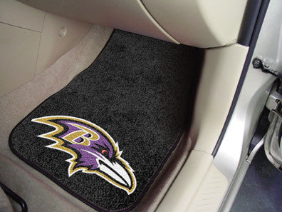 "NFL Officially licensed products Baltimore Ravens 2-pc Carpeted Car Mats 17""x27"" Show your fandom even while driving with Ca"
