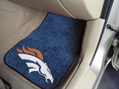 "NFL Officially licensed products Denver Broncos 2-pc Carpeted Car Mats 17""x27"" Show your fandom even while driving with Carp"
