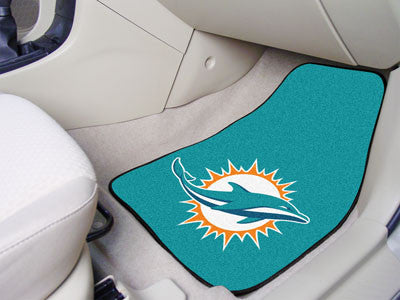"NFL Officially licensed products Miami Dolphins 2-pc Carpeted Car Mats 17""x27"" Show your fandom even while driving with Carp"