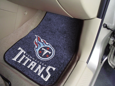 "NFL Officially licensed products Tennessee Titans 2-pc Carpeted Car Mats 17""x27"" Show your fandom even while driving with Ca"