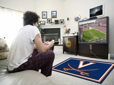 "NCAA Officially licensed University of Virginia 4x6 Rug 44""x71"" Show off your team pride in a big way! 4'x6' ultra plush are"
